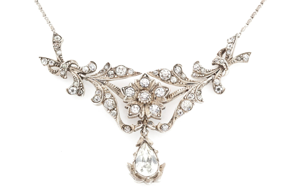 Pretty Art Deco Silver Paste Necklace c.1935