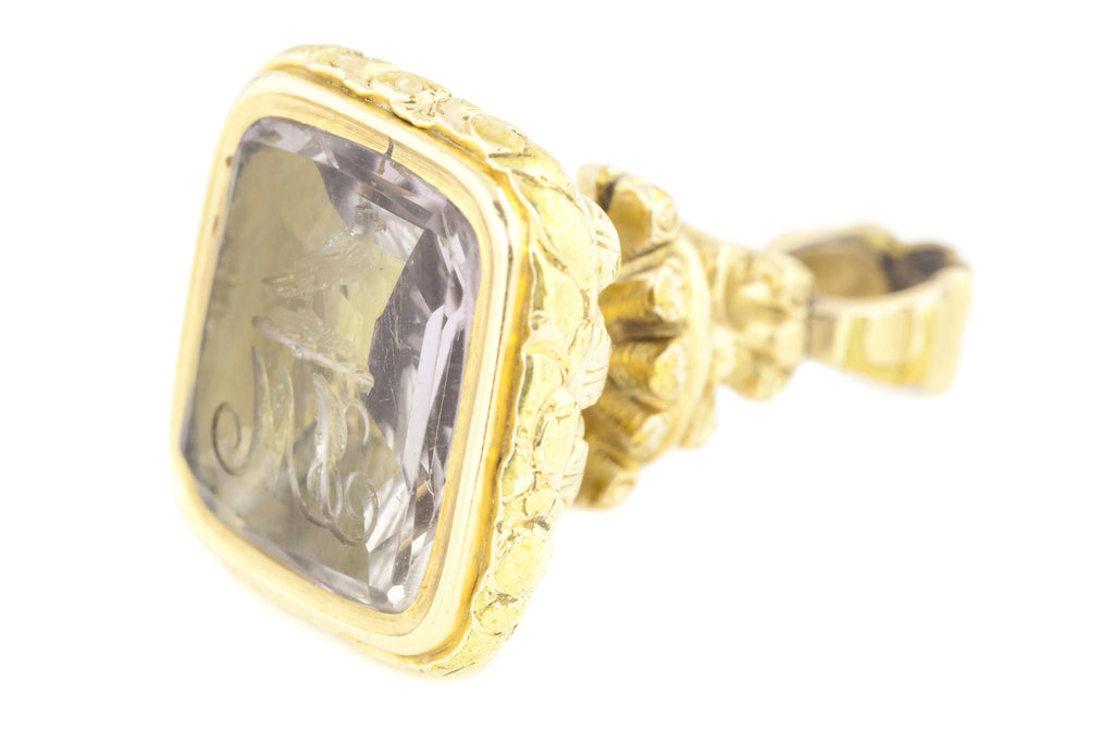 18ct Gold Antique Seal Fob with Amethyst Intaglio c.1840