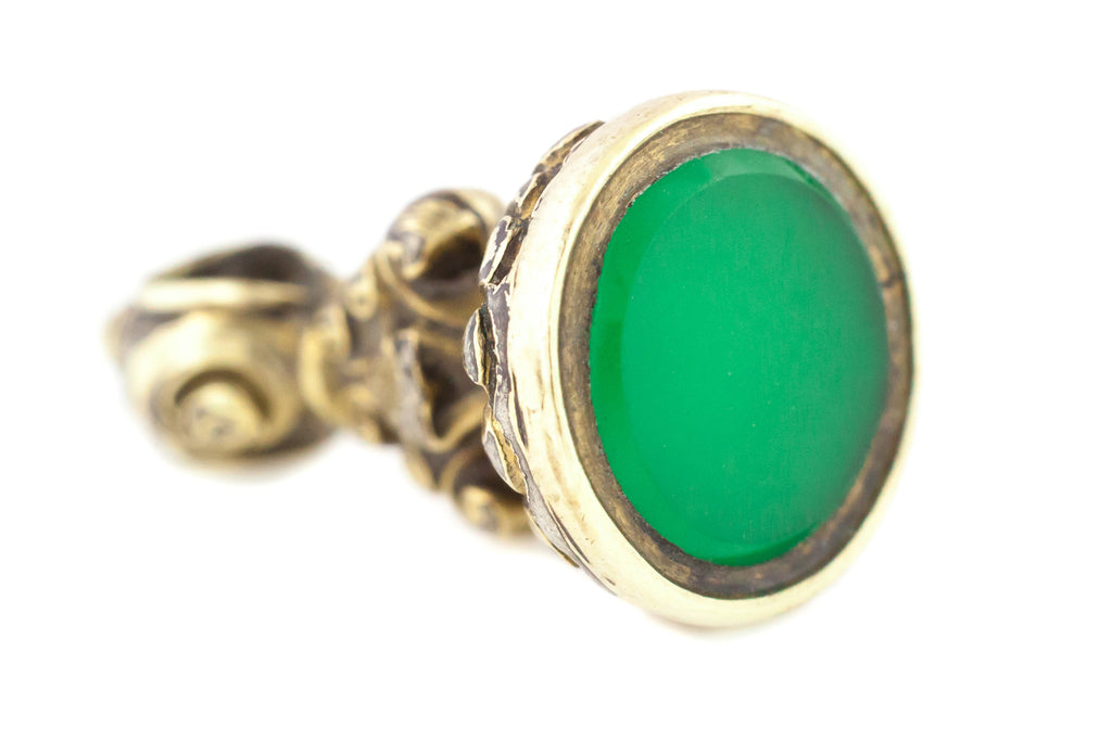 Small 9ct Gold Fob Pendant with Green Gem