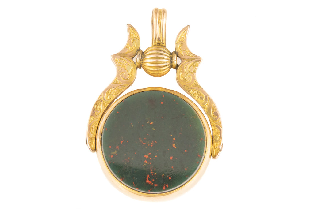 Antique Gold Swivel Fob with Carnelian and Bloodstone c.1907