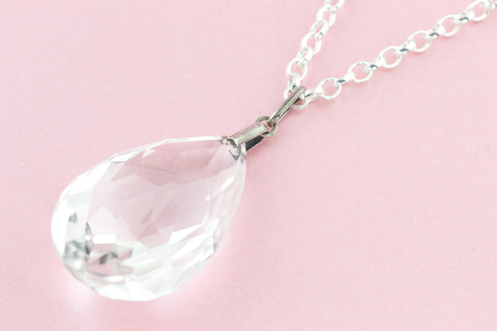 Art Deco Rock Crystal Teardrop Pendant, with Chain c.1920 (65.71ct)