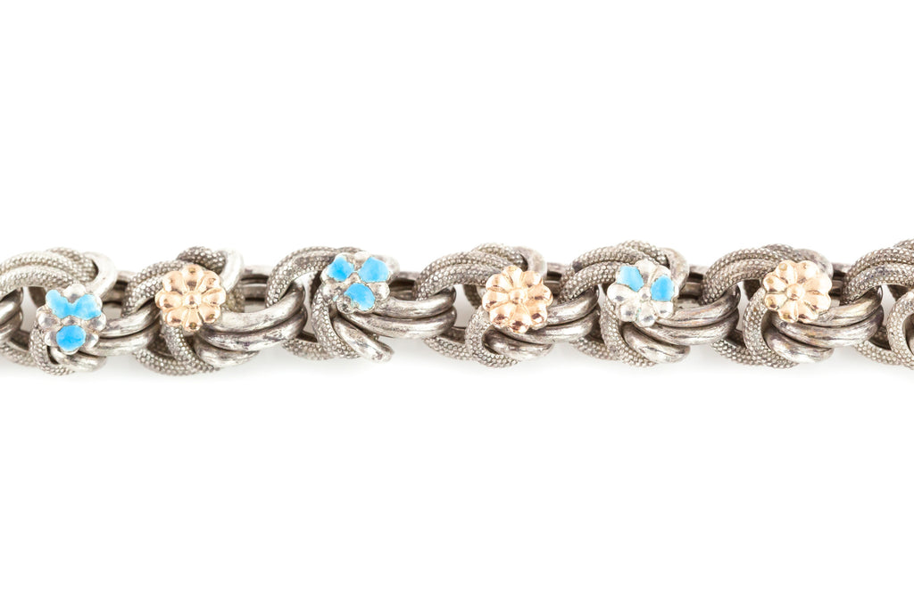 Antique French Silver Bracelet, with Enamel and Gold Flowers c.1900