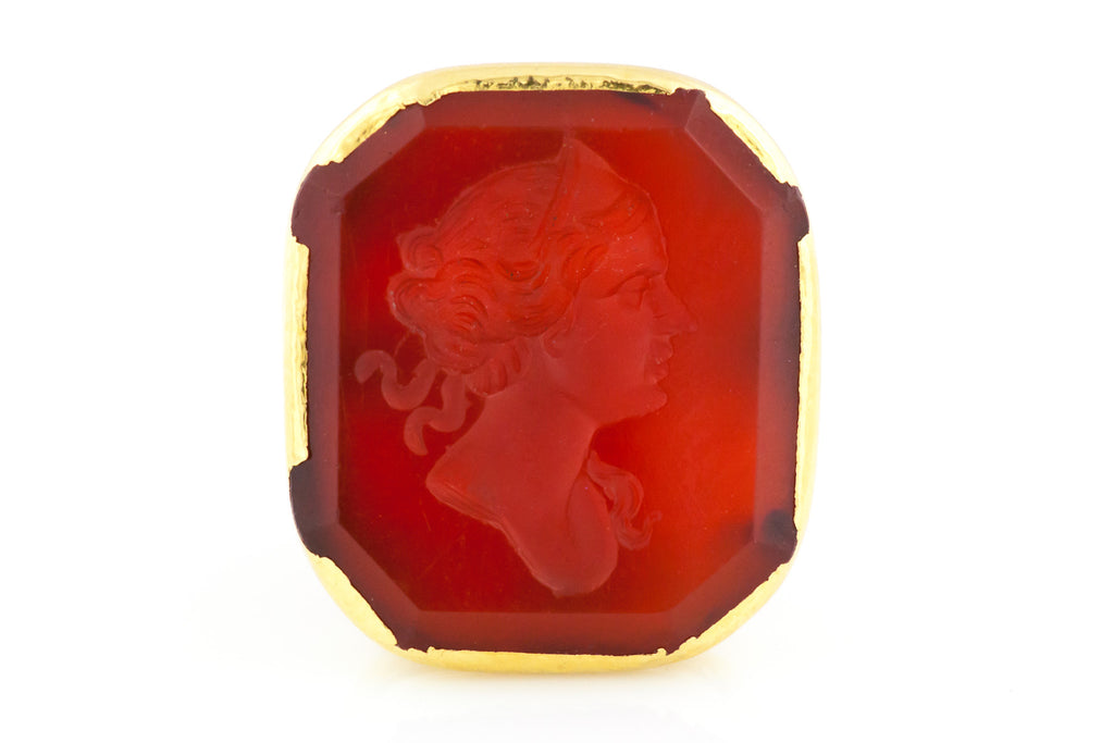 Antique Carnelian Fob Pendant - 14ct Gold Antique Wax Seal Fob Charm