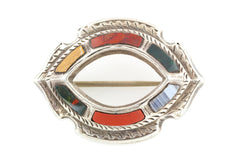 Antique Silver Scottish Agate Brooch - Victorian Agate Brooch c.1880