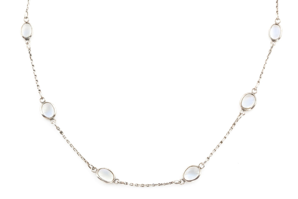 Antique Silver Moonstone Necklace c.1900