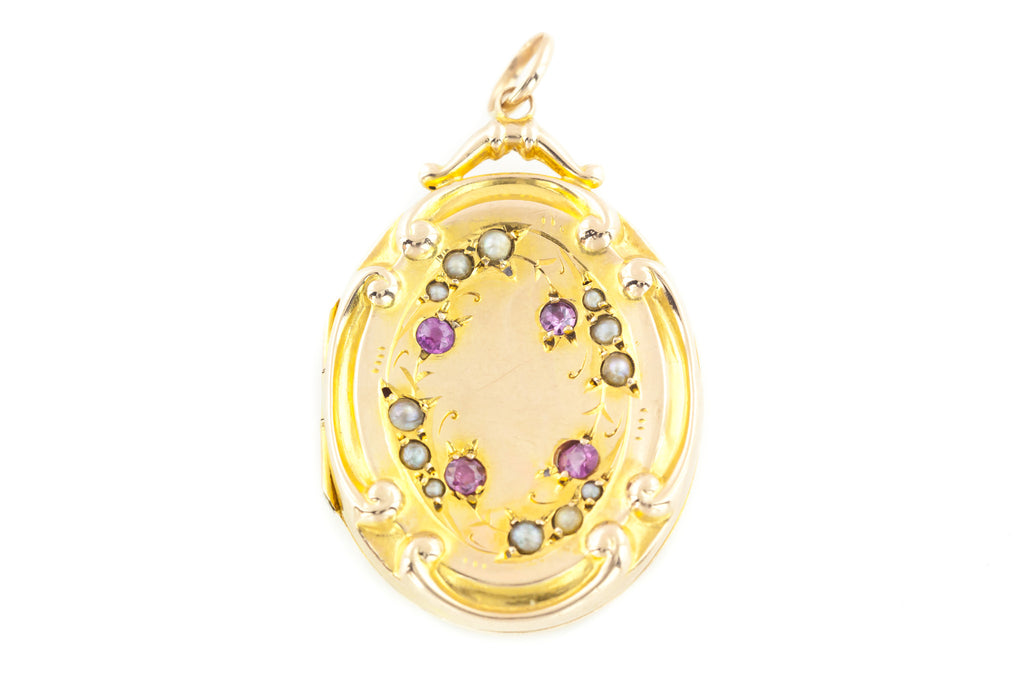 "RESERVED for ""A""! - 9ct Gold Edwardian Ruby and Pearl Locket c.1912"