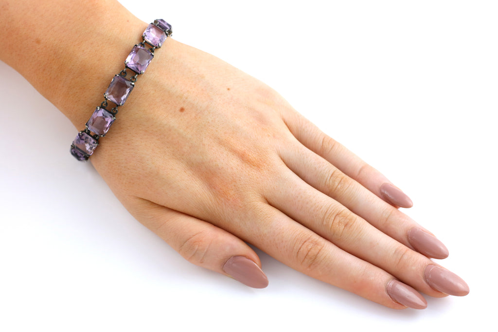Art Deco Amethyst Bracelet on Silver