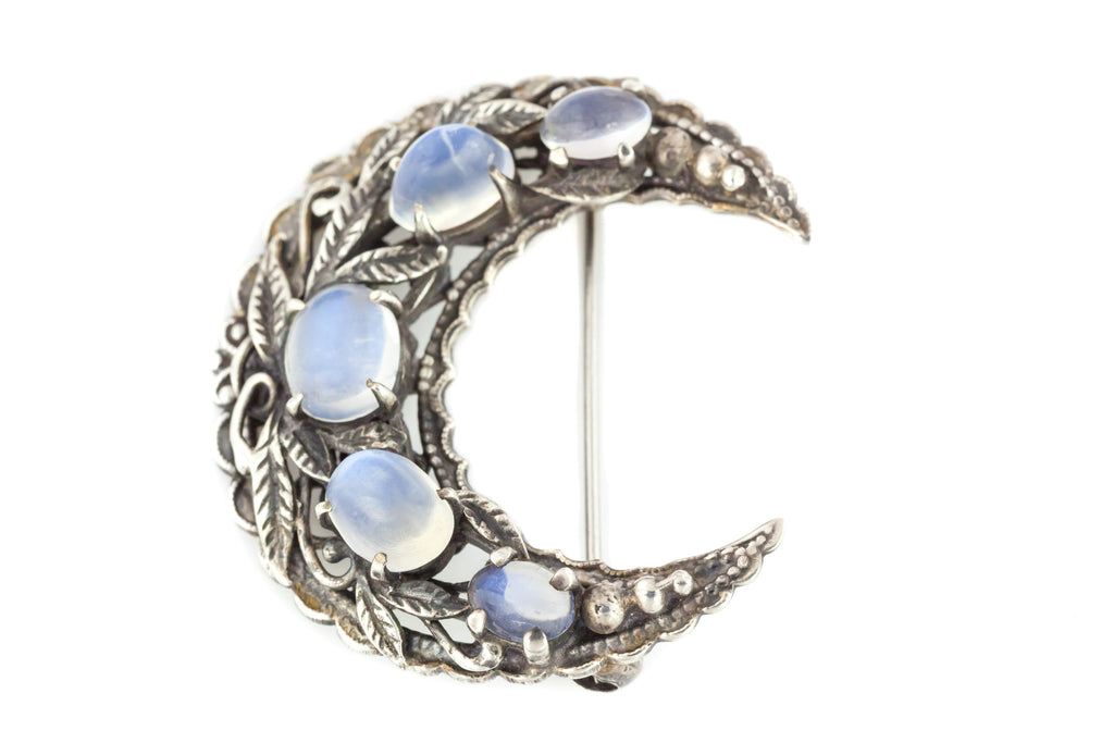 Arts and Crafts Era Silver Crescent Brooch - Antique Moonstone Brooch