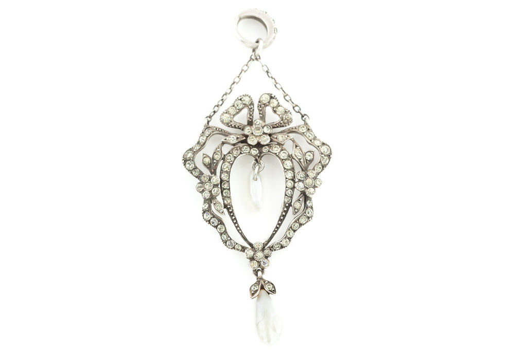 Edwardian Diamond Paste and Pearl Pendant