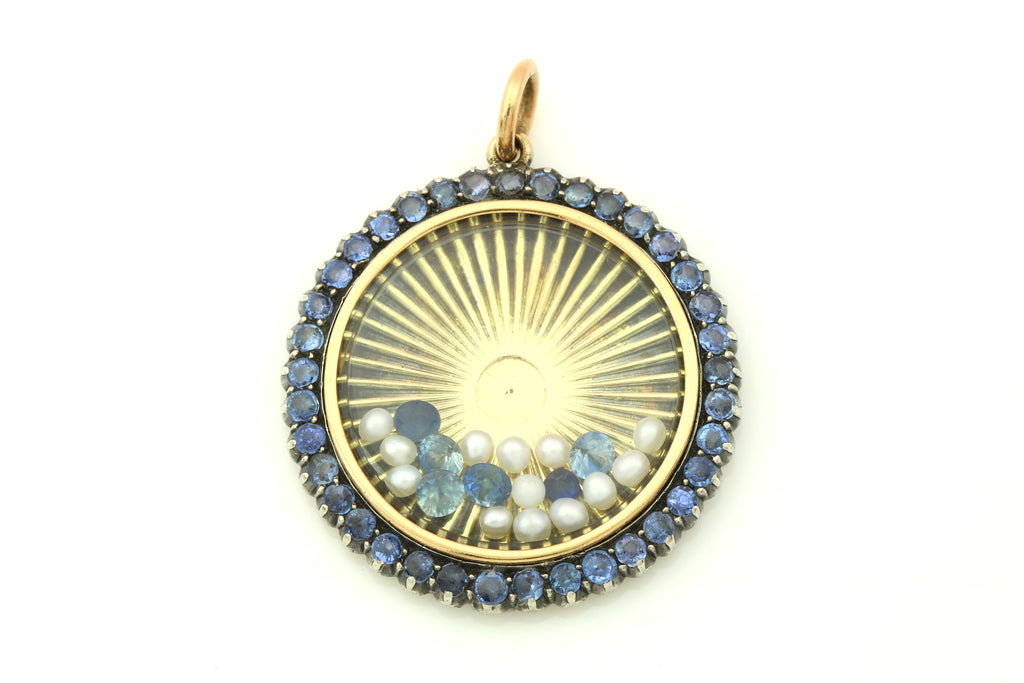 Antique 14ct Gold Locket with Sapphires & Pearls