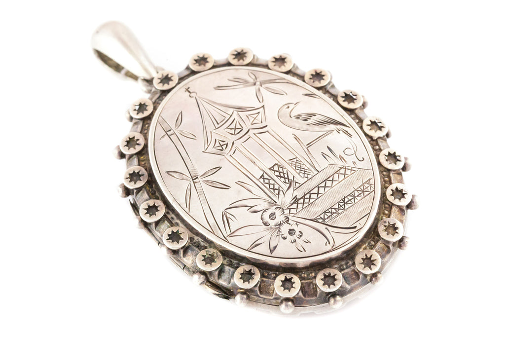 Victorian Aesthetic Silver Locket c.1879