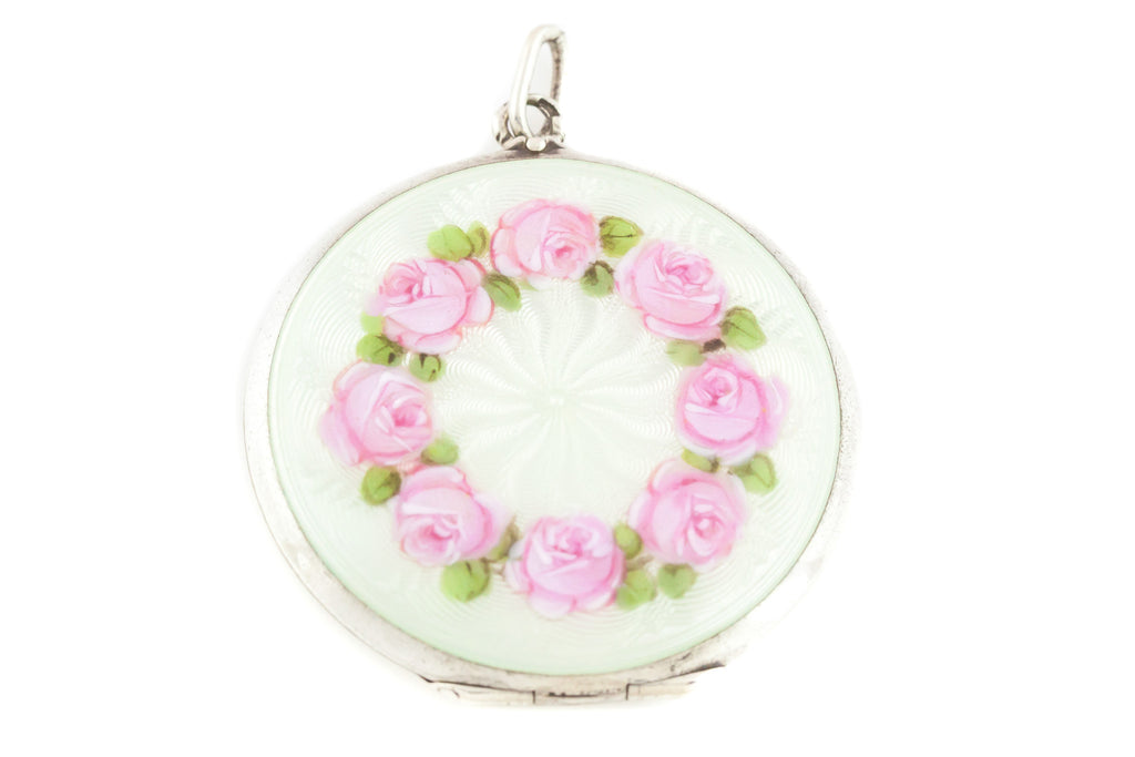 Large Silver Enamel Roses Guilloche Locket