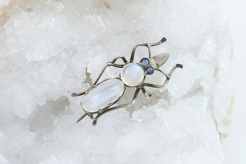 Art Nouveau Moonstone Insect Brooch
