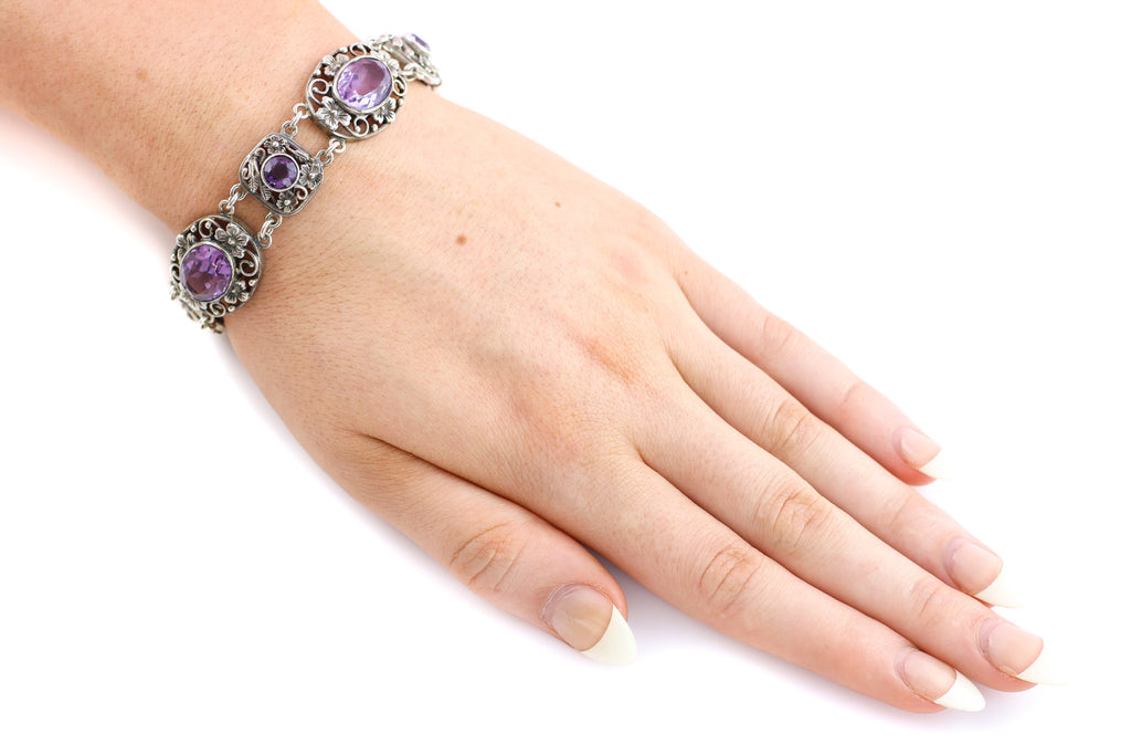 Arts & Crafts Amethyst Bracelet in Silver