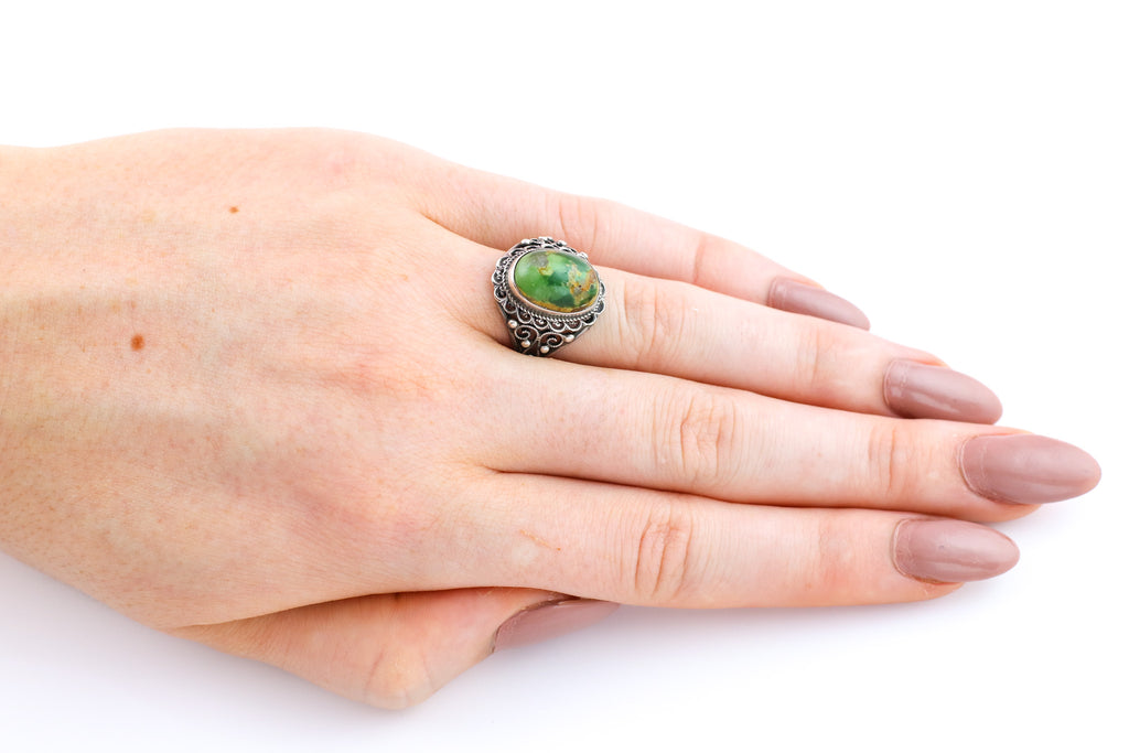 Antique Green Turquoise Cabochon Ring