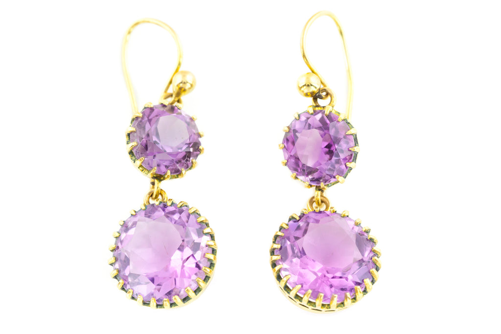 Exquisite 18ct Gold Antique Amethyst Drop Earrings c.1890