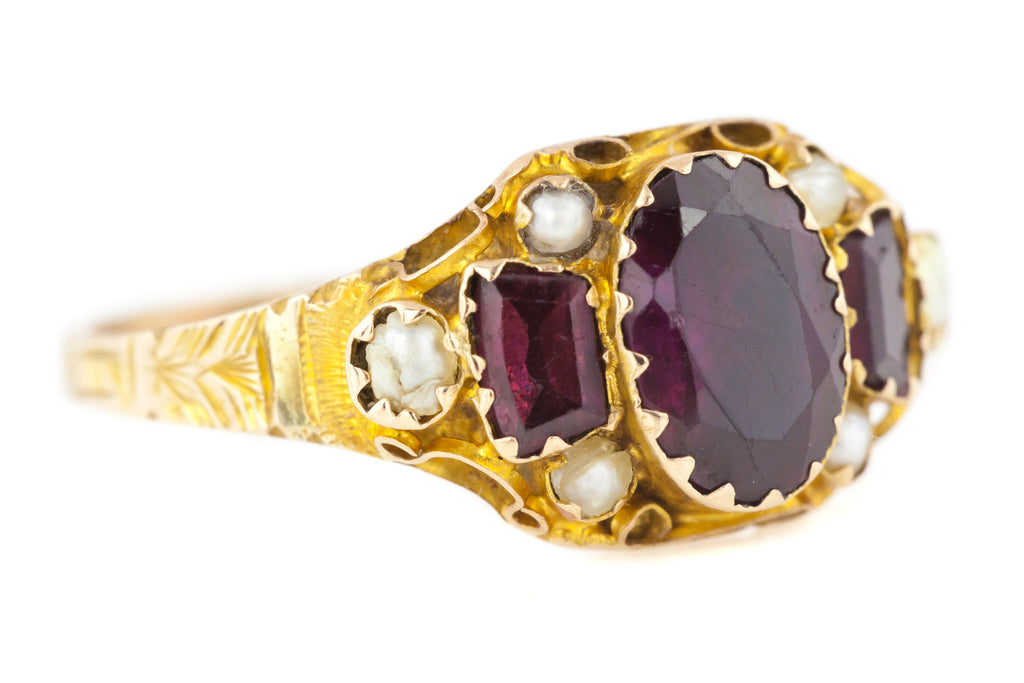 Georgian Gold Ring with Purple Garnets and Pearl Accents c.1808