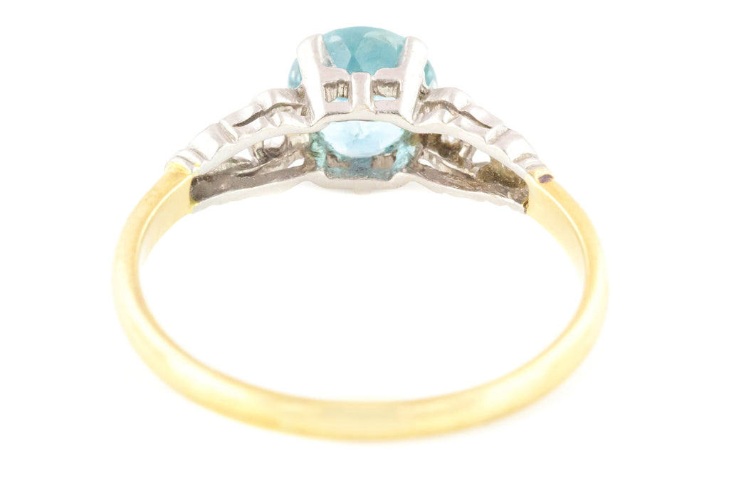 Art Deco Zircon and Diamond Engagement Ring