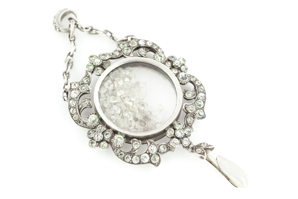 Antique Silver Shaker Locket with Mississippi Pearl Drop c.1901