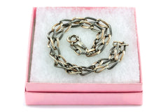 Antique Silver Niello Chain with Gilded Links, Dog Clip & Bolt Ring