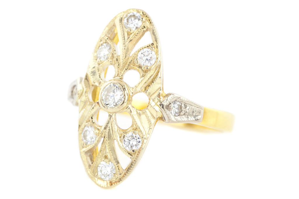 Russian 18ct Gold Antique Diamond Ring c.1910