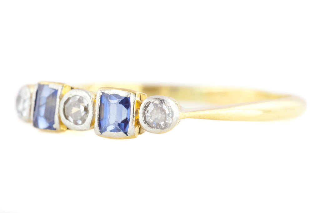 Art Deco Natural Sapphire and Diamond Five Stone Ring