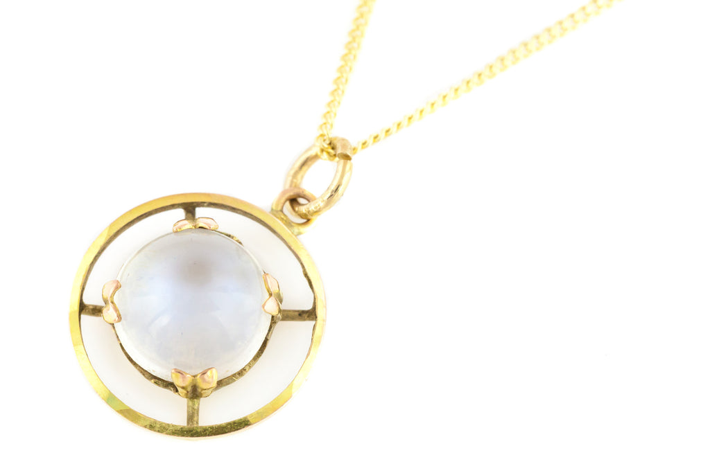 Antique 9ct Gold Moonstone Pendant, with solid Gold Chain
