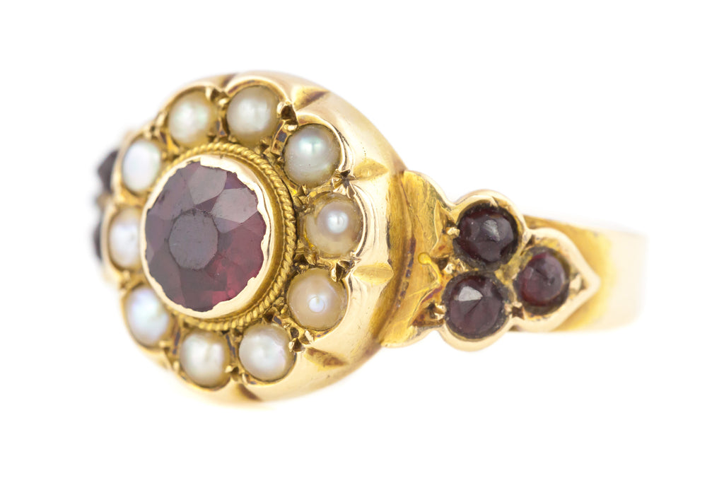 18ct Gold Antique Garnet Ring - Antique Garnet Pearl Cluster Ring c.1840