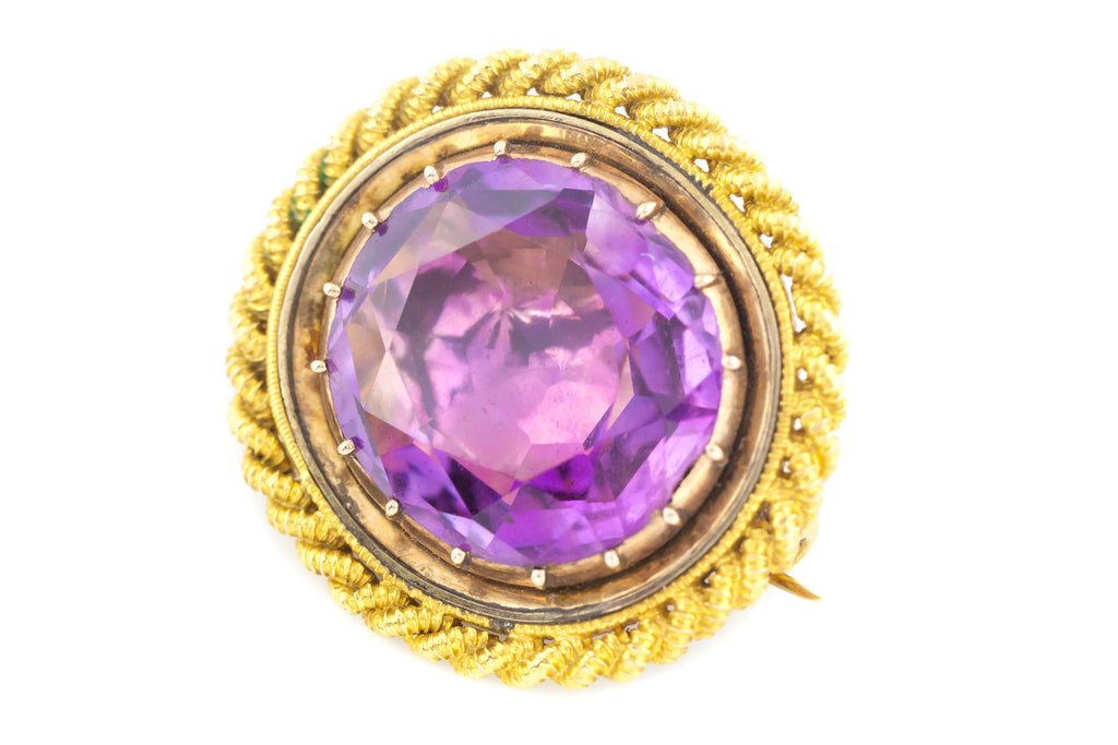 Superb 18ct Gold Georgian Amethyst Brooch (28.62ct)
