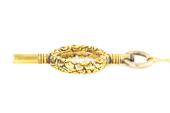 15ct Gold Georgian Watch Key Pendant, with Chain c.1800