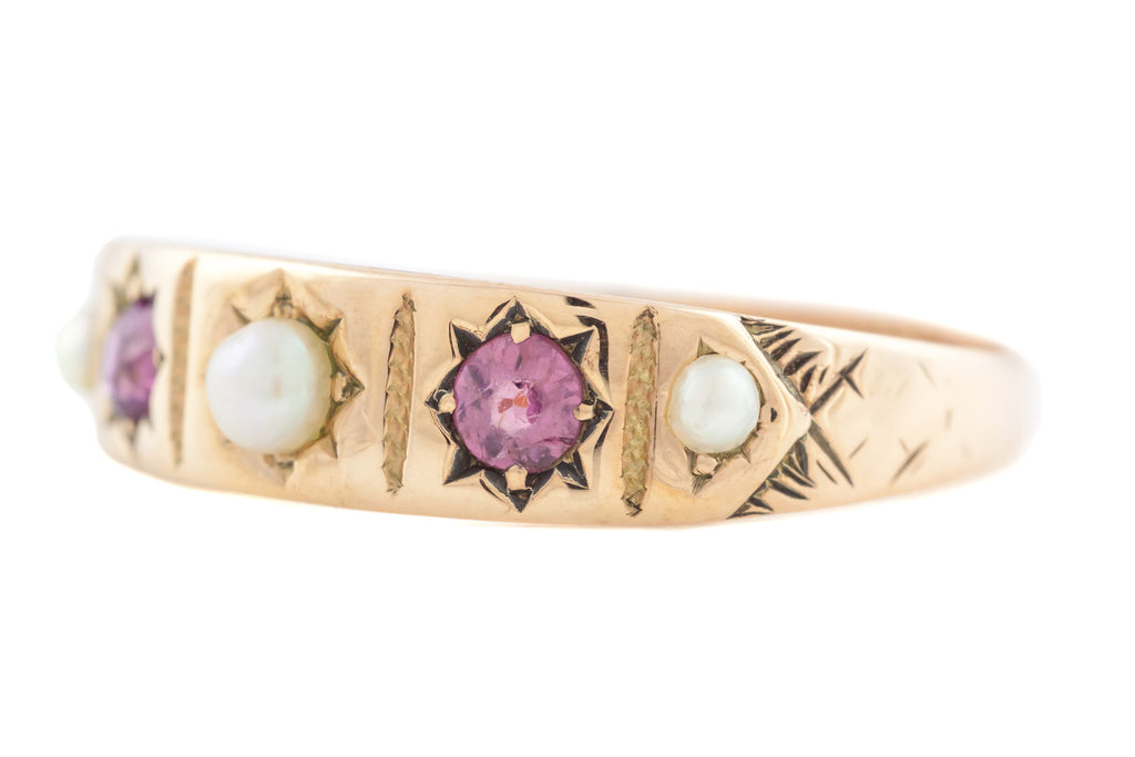 9ct Gold Victorian Five Stone Pearl and Garnet Gypsy Ring