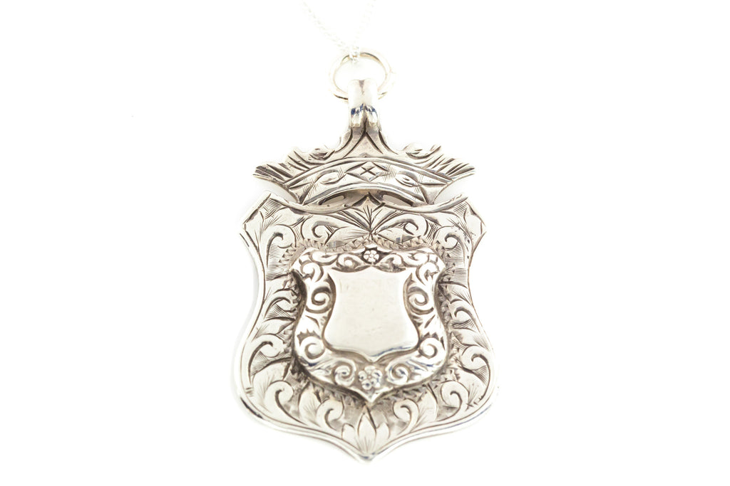 Antique Silver Fob Medal Pendant with Chain c.1906