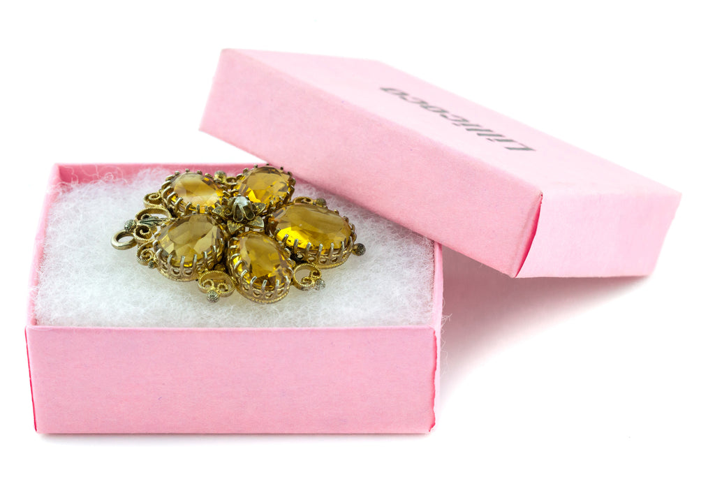 Victorian Citrine Pansy Brooch and Pendant