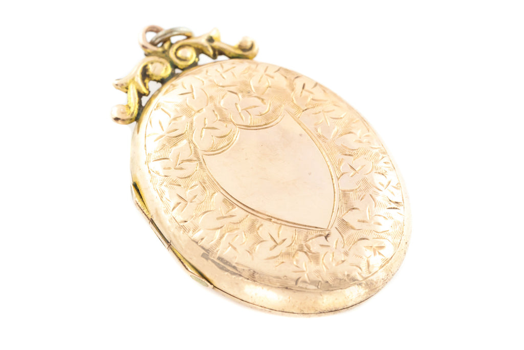 9ct Gold Edwardian Oval Locket - Back and Front