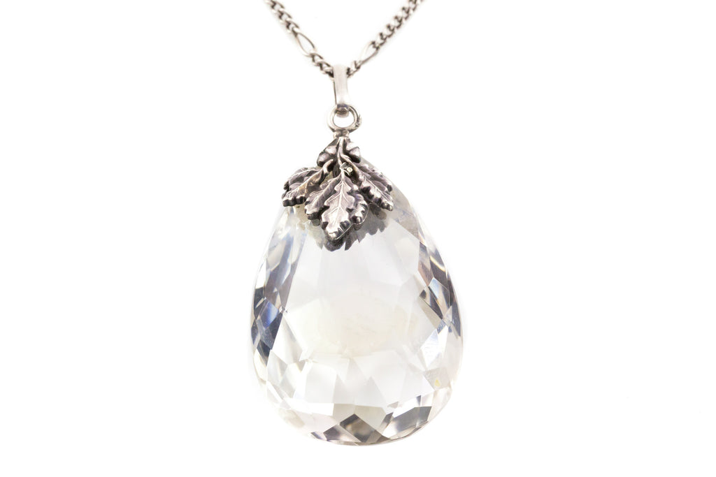 Antique Rock Crystal Teardrop Pendant with Vintage Silver Chain