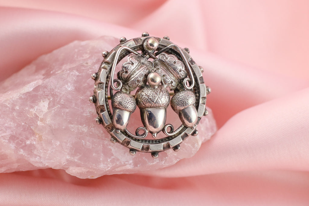 Victorian Acorn Brooch with Beaded Edge