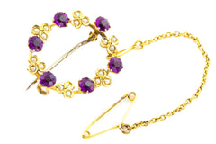 9ct Gold Edwardian Amethyst and Pearl Brooch with Safety Chain