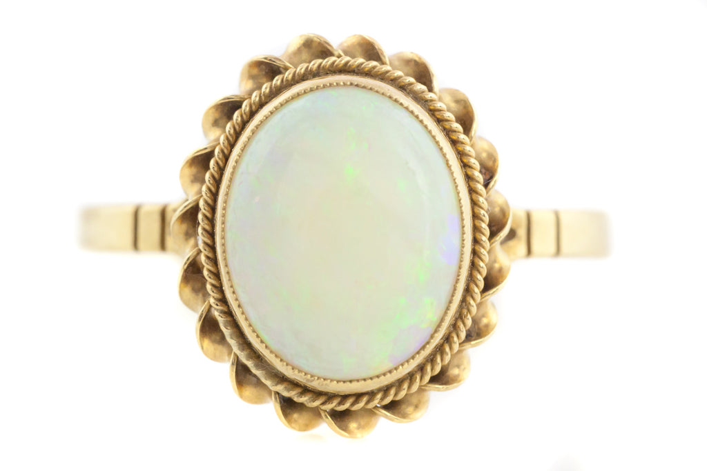 9ct Gold Vintage Opal Ring - Natural Opal Ring 1986