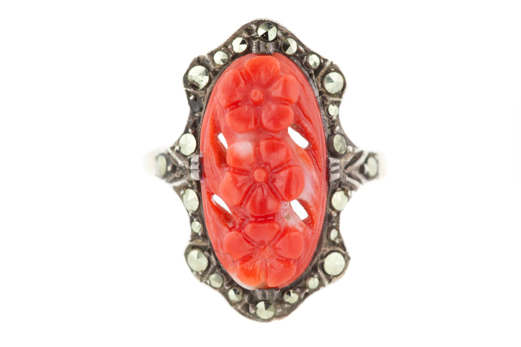 Art Deco Coral and Marcasite Ring in Silver with 9ct Gold Band