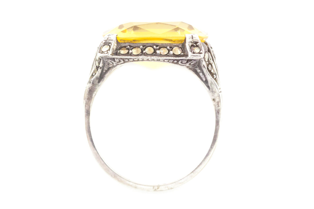 Art Deco Citrine and Marcasite Dress Ring