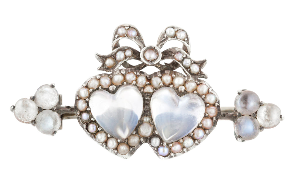 Moonstone Silver Double Heart Brooch