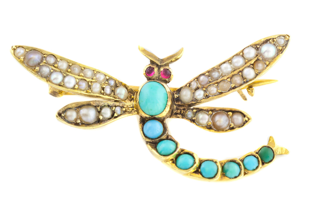 15ct Gold Turquoise Dragonfly Brooch c.1900