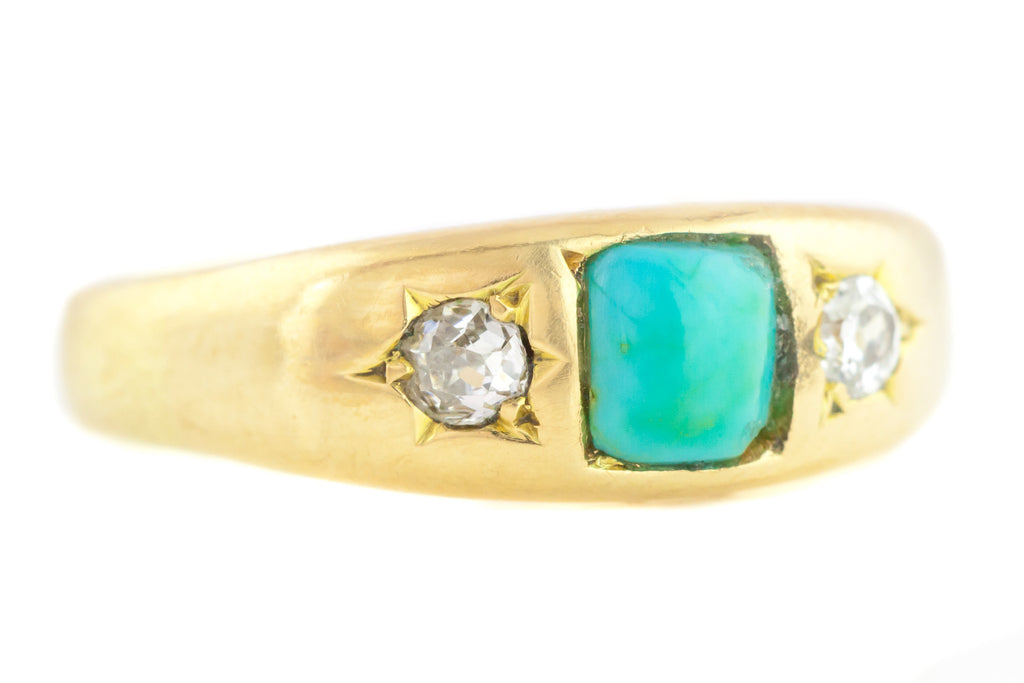 18ct Gold Antique Turquoise and Diamond Gypsy Ring c.1900