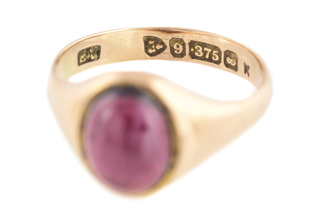 9ct Rose Gold Antique Garnet Cabochon Ring c.1905