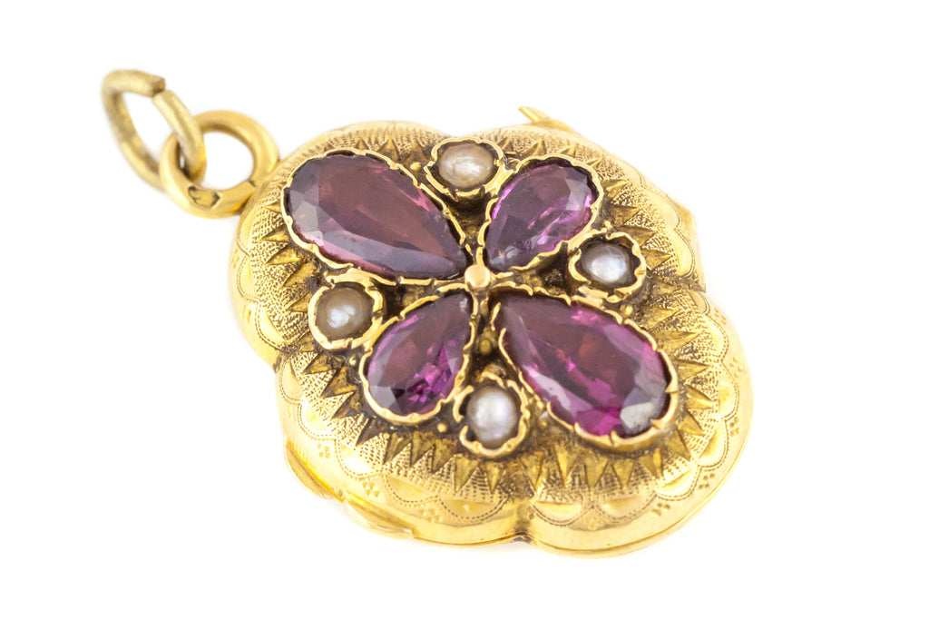 Antique French Garnet 18ct Gold Locket c.1870