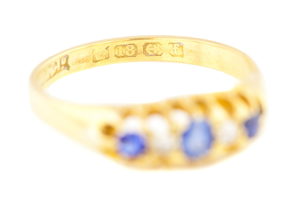 18ct Gold Edwardian Five Stone Ring with Sapphires and Diamonds c.1905