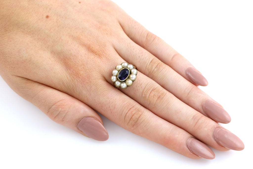 Georgian Pearl and Amethyst Cluster Ring in 15ct Gold