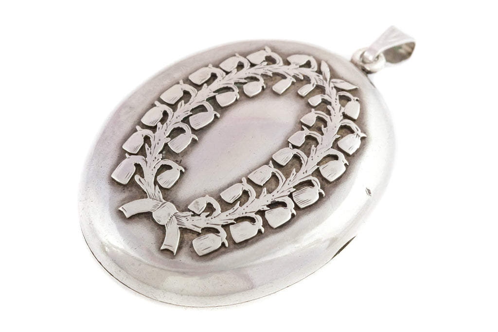 Large Antique Silver Locket with lily of the Valley c.1890