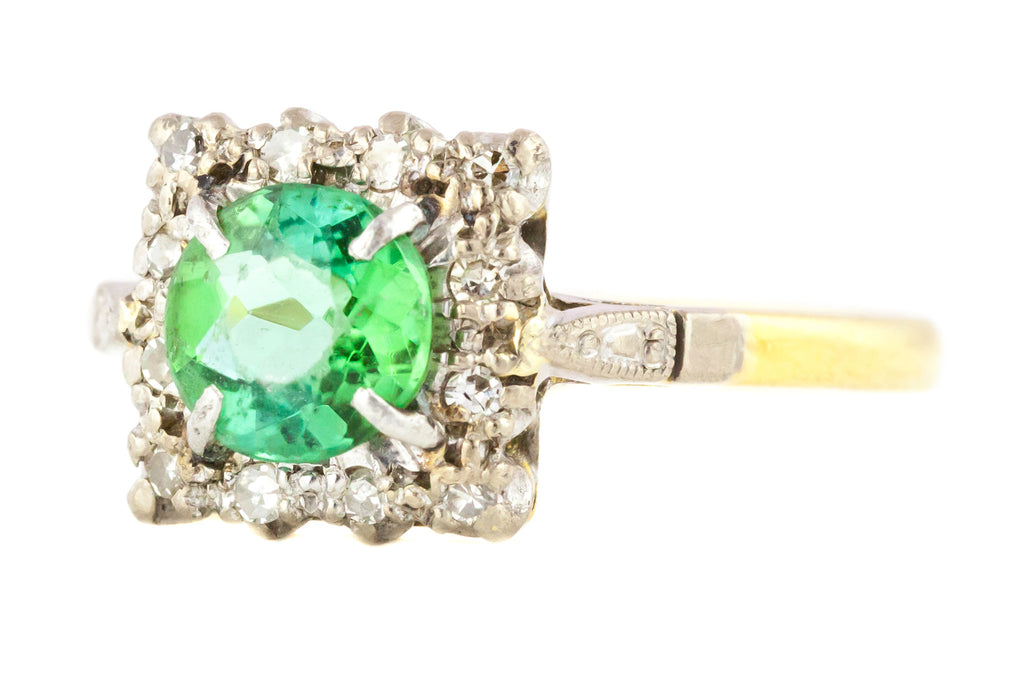 Art Deco Tourmaline and Diamond Cluster Ring c.1930