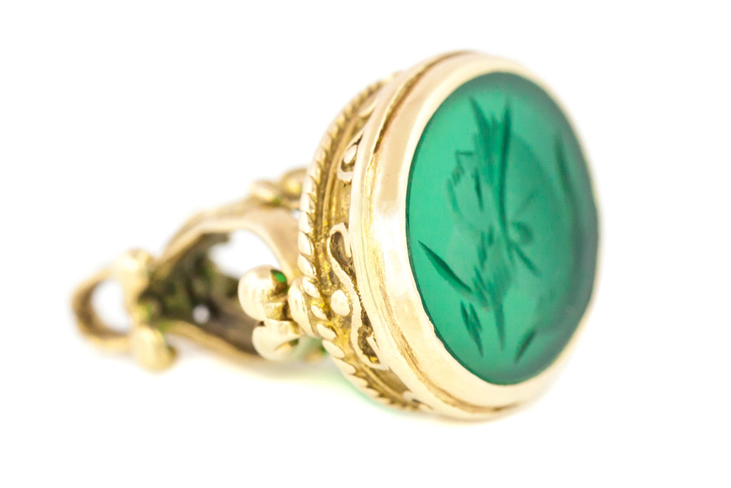 Antique Chalcedony Intaglio Wax Seal Fob Pendant c.1874